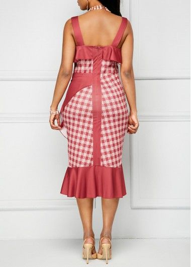 Open Back Ruffle Detail Frill Hem Sheath Dress | Rosewe.com - USD $33.98