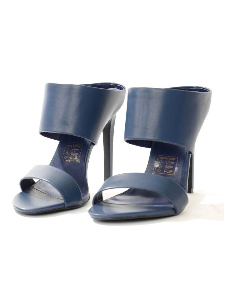 Silvian Heach Navy Alpiro Mule Heels | Accent Clothing