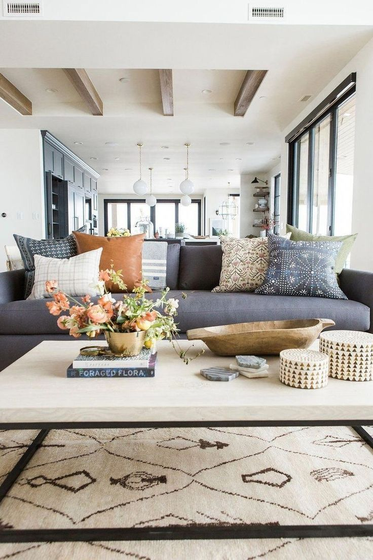 modern boho living room decor #livingroom #throwpillows