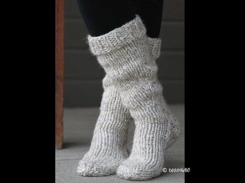 Step by step ivideo tutorial to knit these Cottage Slipper Socks. #iknits FREE pattern ♥4500 FREE patterns to knit ♥: http://www.pinterest.com/DUTCHKNITTY/share-the-best-free-patterns-to-knit/