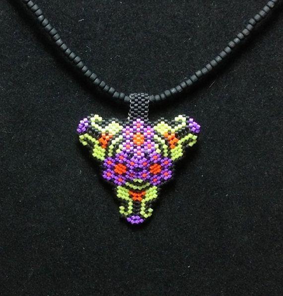 Lime Green Purple Flowers Triangle Choker by DoubleACreations