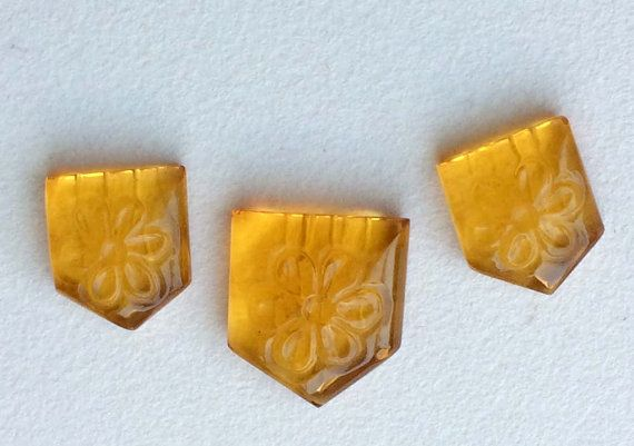 Yellow Colored Glass 3 Pc Faceted Fancy Shape by gemsforjewels