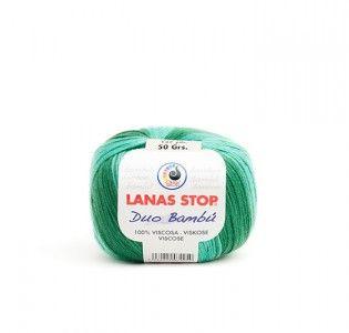 """#Lanas Stop """"Duo Bambú"""". Composición: 100% rayón. Para agujas de punto del 4 - 5 y de ganchillo del 6. Entre 119 y 131 m."""