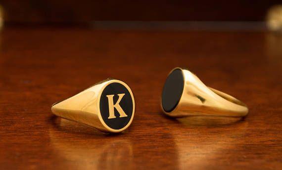 Custom Letter Ring Signet Ring Man Custom Ring Monogram Ring Man Gold Ring Man Initial Ring Pinky Ring Husband Gift Enamel Gold Ring Letter Ring Rings For Men Signet Ring Men