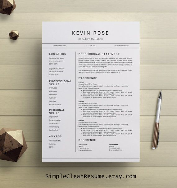 Modern Resume Template, Modern Cover Letter Reference Letter MS Word 1 Page Professional Creative Resume Design Mac Pc Kevin Rose Lebenslauf
