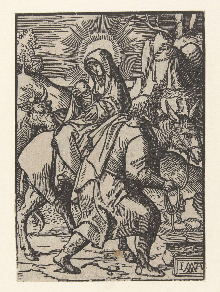 Jacob Cornelisz van Oostsanen | Vlucht naar Egypte, Jacob Cornelisz van Oostsanen, 1520 - 1521 | Uit serie van 66 prenten. Geen tekst op verso.