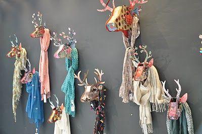 Paper deer mount scarf display