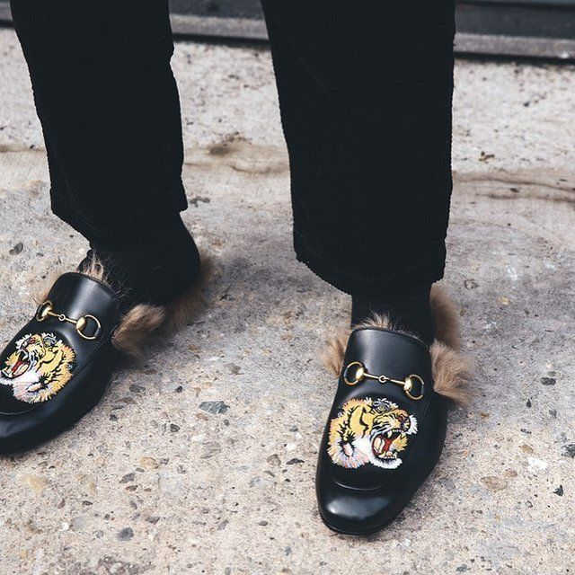 21f99b720 Gucci Black Fur Tiger Princetown Slippers | Shoes | Gucci loafers ...
