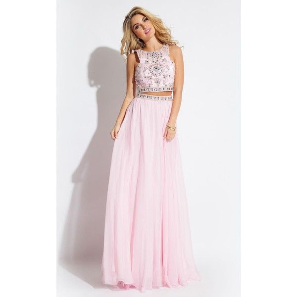 Rachel Allan 7220  Long High Neckline Sleeveless ($498) ❤ liked on Polyvore featuring dresses, gowns, formal dresses, pink, formal evening gowns, high neck prom dresses, two piece prom dresses and prom dresses