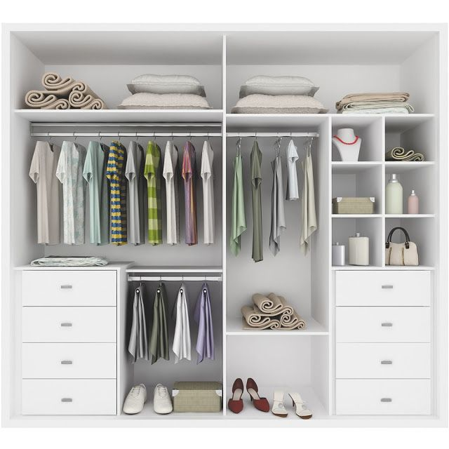 """This is what our """"his and hers"""" closet needs for organization. Exact closets, just no dresser inside"""