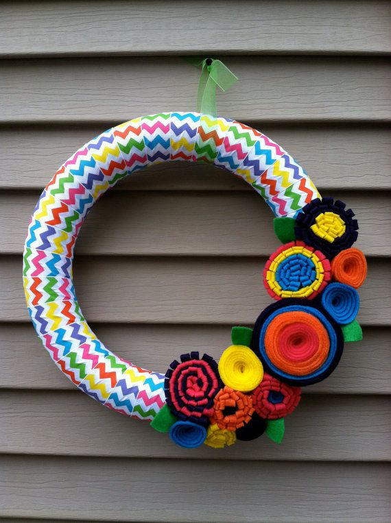 Easter Wreath Wrapped in Rainbow Chevron Ribbon by stringnthings, $42.00