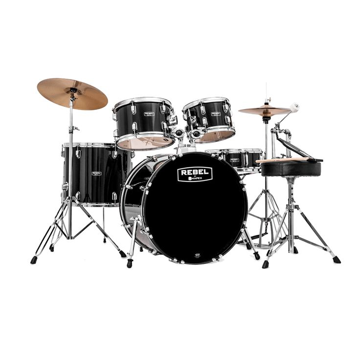 Mapex Rebel 5-Piece Drum Set with Cymbals and Hardware - Black