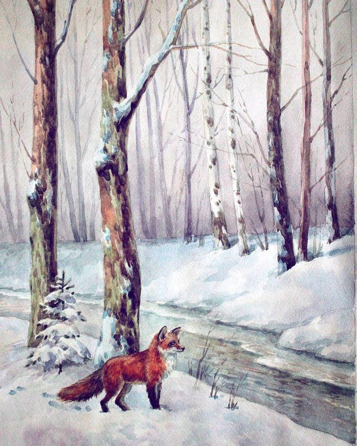 публикации лиса в зимнем лесу рисунок гуашью поддерживает сердце нервную