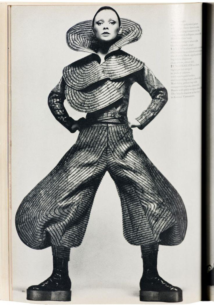 Kansai Yamamoto, Harpers & Queen, July 1971. http://flashbak.com/fabulousness-kansai-yamamotos-david-bowie-influencing-catwalk-show-1971-371316/