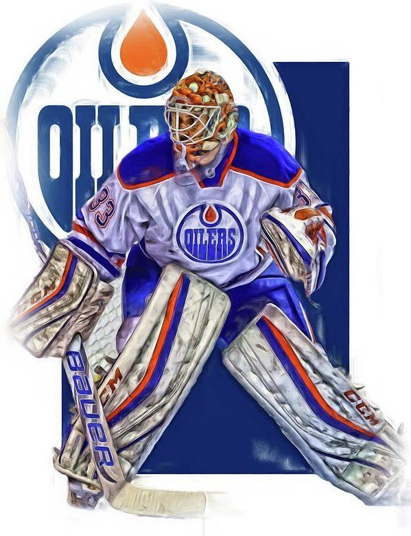 Cam Talbot Print featuring the mixed media Cam Talbot Edmonton Oilers Oil Art by Joe Hamilton