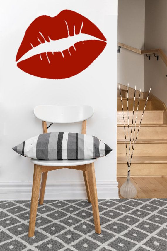 large Lips kiss love vinyl Wall DECAL sticker art by EyvalDecal