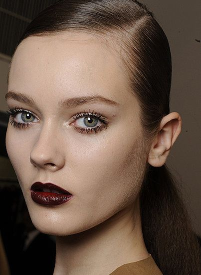 Black cherry/ burgundy lip color for fall.