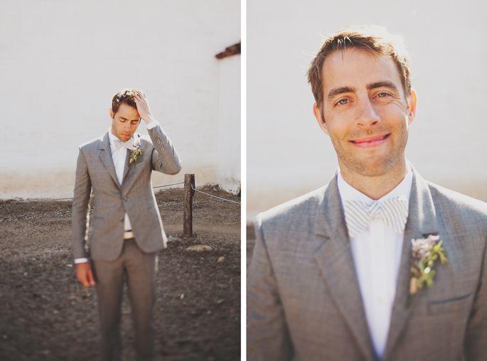 Cream And Blush Black Tie Wedding: Perfect: Grey Suit, White Shirt, Cream TIE For Groomsman