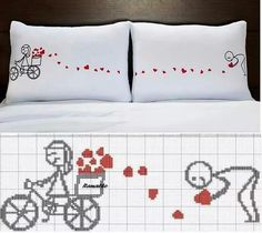 point de croix Cross stitch Kreuzstich Hearts Valentine Bicycle Bike Love Pillow Wedding Herzen Hochzeit Kissen Fahrrad Liebe