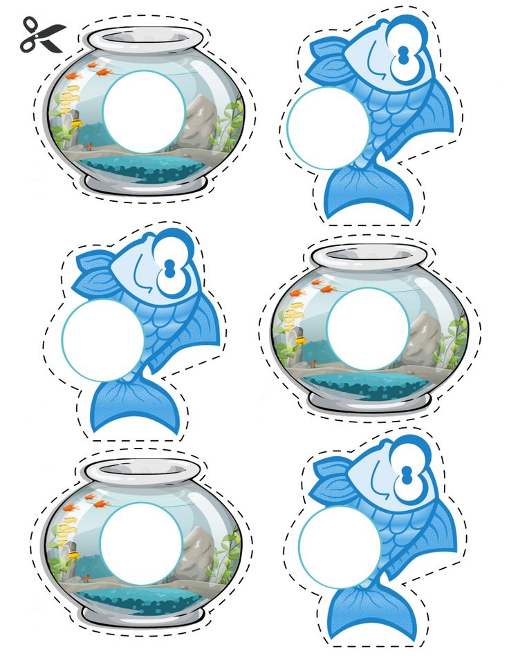 Free Matching fish & fish bowl game for: letter matching, math help, etc... ☀️