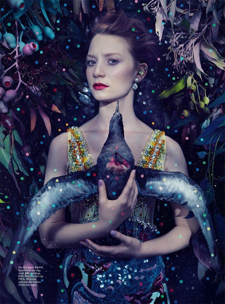 ❀ Flower Maiden Fantasy ❀ beautiful art fashion photography of women and flowers - Vogue Australia March 2014 | Mia Wasikowska by Emma Summerton - bird