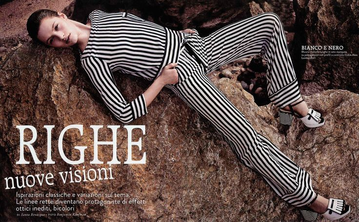 GRAZIA Italia - August 2013. #Bw #striped total #outfit by #AtosLombardini.