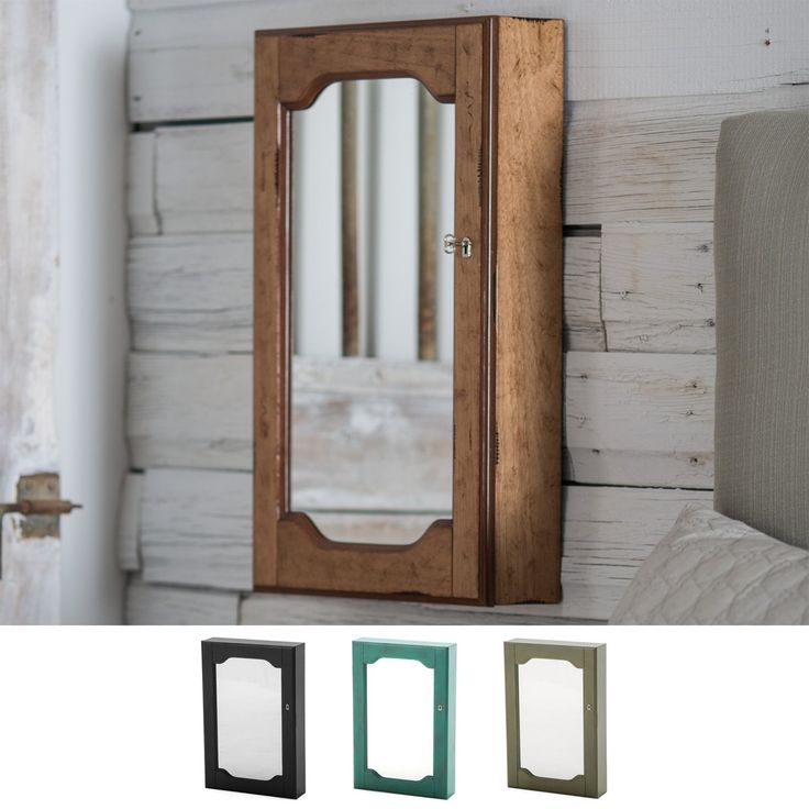 Distressed Wall Mount Mirrored Locking Jewelry Armoire ...