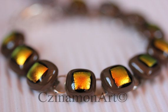 Orange Brown Yellow Dichroic Fused Glass Bracelet by CzinamonArt, €25.00