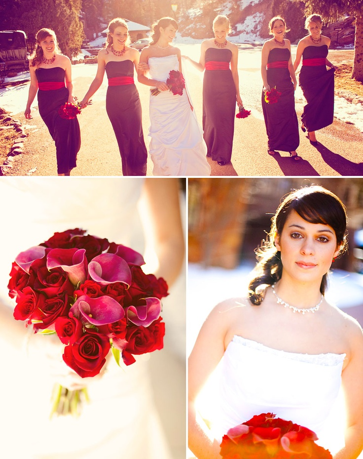 Black and red is gorgeous for bridesmaid dresses. I would want them to be short dresses though.