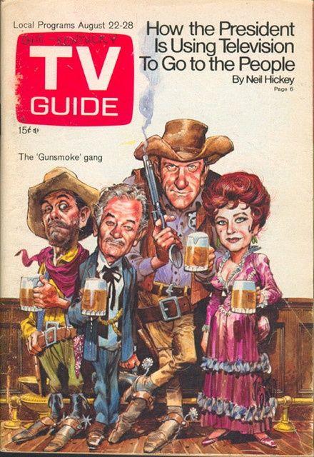 TV Guide Covers 1970s   August 22, 1970. Ken Curtis, Milburn Stone, James Arness, and Amanda ...Gunsmoke