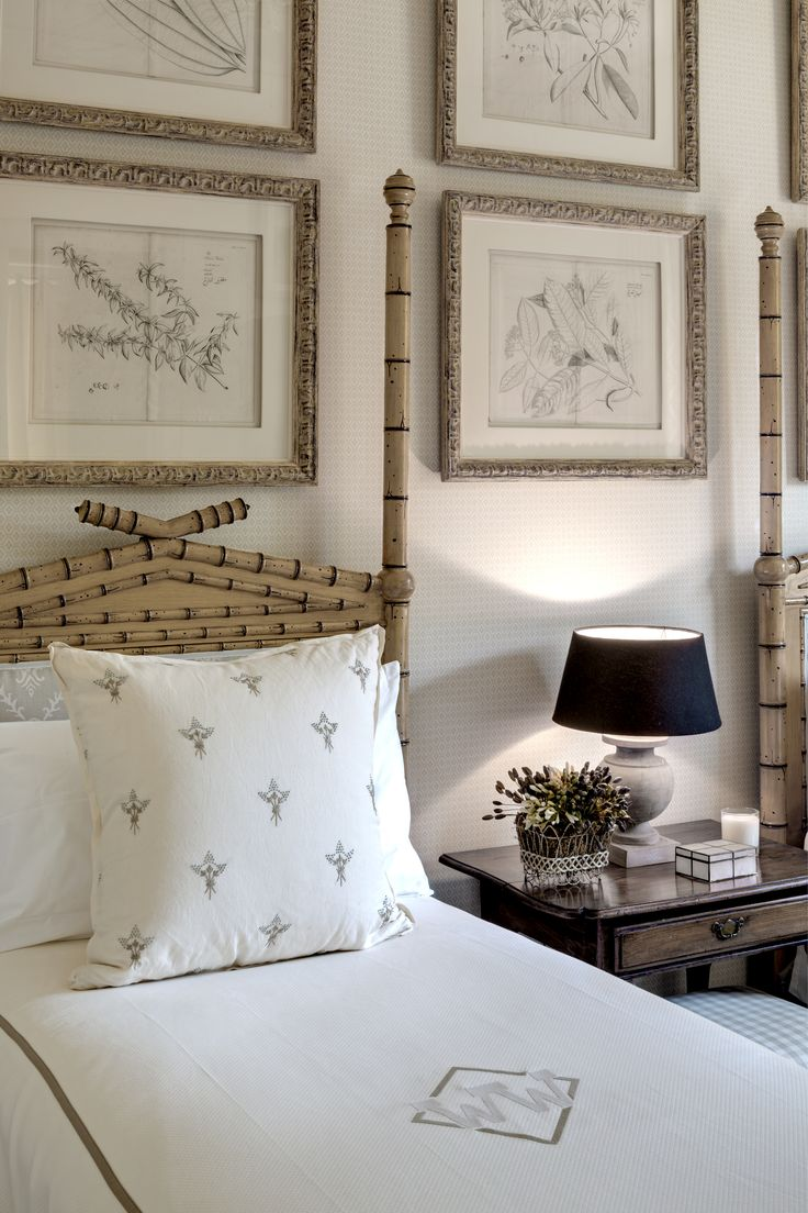 Bamboo Bed   Monogrammed Bedding   Cathy Kincaid Interiors