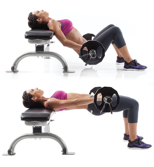 Position shoulders and upper back on a flat bench and hold barbell across hips just below the bone. Place feet flat on floor hip-width apart and lower your glutes until they almost touch the floor. Press your hips straight up, pausing at the top before slowly lowering to the start and repeating right away. Tip: Drive through your heels to make this glute-intensive. You can also change the position of your feet — closer, farther, toes straight, toes out — to change the emphasis on the glutes.