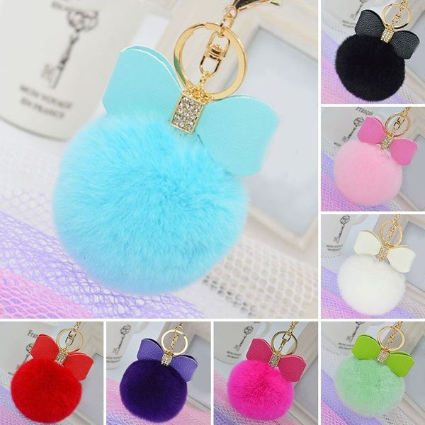 Rabbit Fur Pom-pom Key Chain Bag Charm Fluffy Puff Ball Top Key Ring Car Pendant