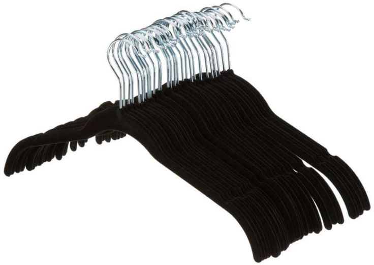 Slim Hangers Black Velvet Adult Clothes Non Slip Shirt Dress Lots Pack Of 30 NEW #AmazonBasics