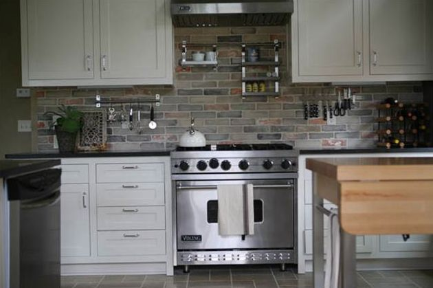 Gray Brick Backsplash Extraordinary Love The Grey Brick Kitchen Backsplash  House  Pinterest  Grey Review