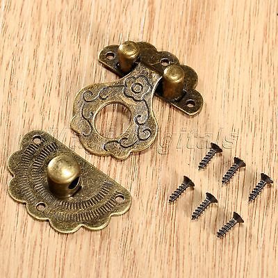 Decorative Antique Bronze Vintage Jewelry Box Case Hasp Cabinet Lock Latch Clasp 4