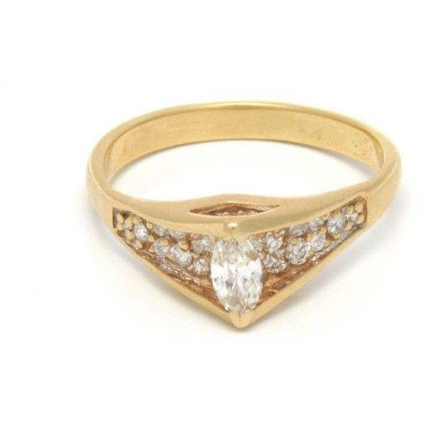 Pre-owned 14K Yellow Gold Diamond Engagement Ring ($999) ❤ liked on Polyvore featuring jewelry, rings, round cut diamond rings, 14k diamond ring, yellow gold diamond rings, pre owned diamond rings and pre owned engagement rings