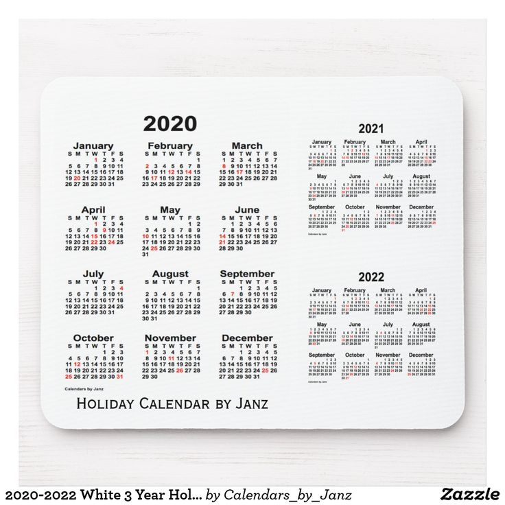 2020-2022 White 3 Year Holiday Calendar by Janz Mouse Pad ...