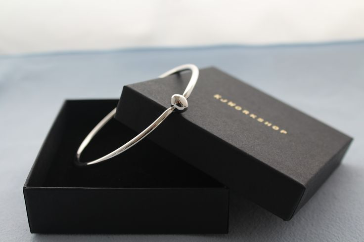 Sterling Silver Bangle with an Oval Ball- Hand Crafted solid silver Bangle
