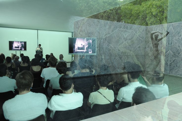 """Spyros Papapetros talking about """"Malicious Houses"""" at the Mies Pavilion http://www.fundacionhannefkens.org/wp-content/uploads/2015/07/15.07.22NefkensMaliciousHousesSpyros056.jpg"""