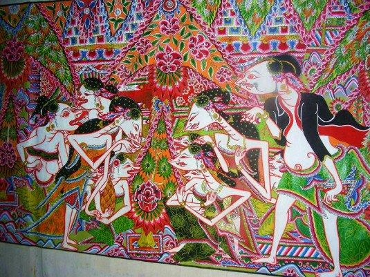 East Java/ Pacitan/ Wayang Beber: puppet theater from Majapahit time to spread teachings of Islam/ original still seen in Pacitan but this art form can only be taught to offsprings of puppet master