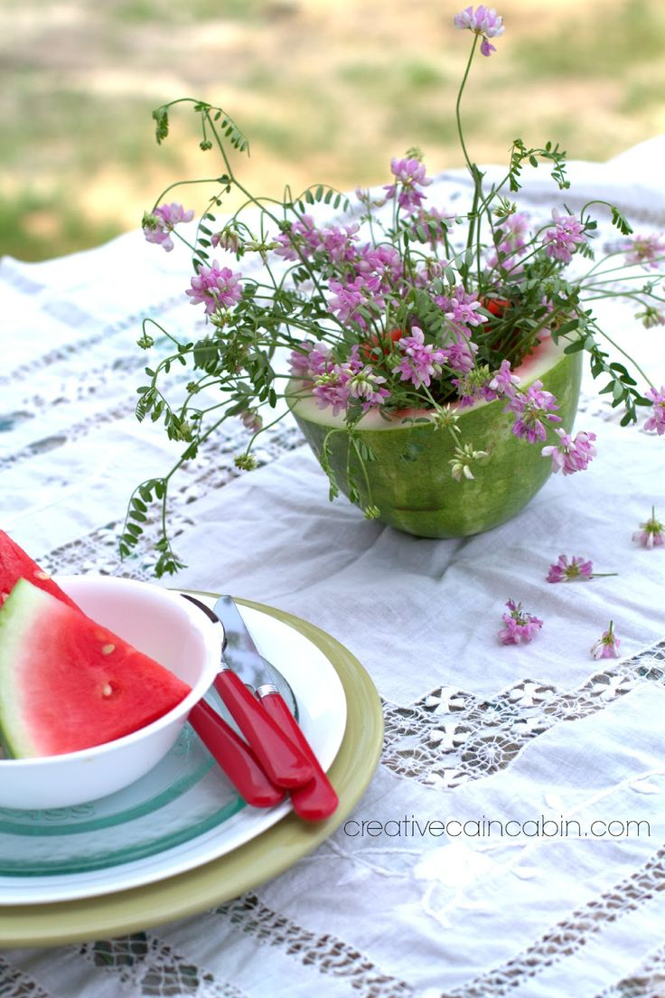 Watermelon Vase and a Picnic Snack - Creative Cain Cabin