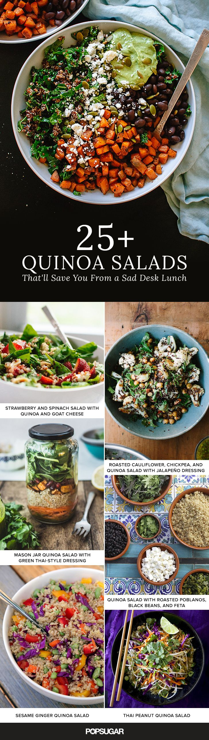 While lunchtime has much potential, in reality it's far too often a rotation of soggy sandwiches, flat-tasting soups, and wilted salads. Avoid midday meal disappointment by bringing one of these sturdy quinoa salads to work, school, or on a picnic.