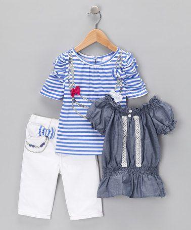 White & Blue Stripe Bow Pants Set