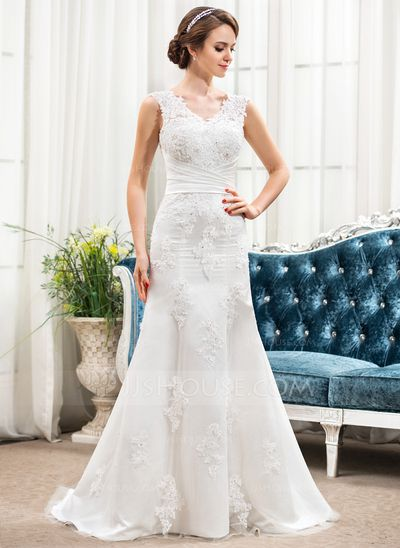 Trumpet/Mermaid V-neck Sweep Train Satin Lace Wedding Dress With Ruffle Beading Sequins (002054355)