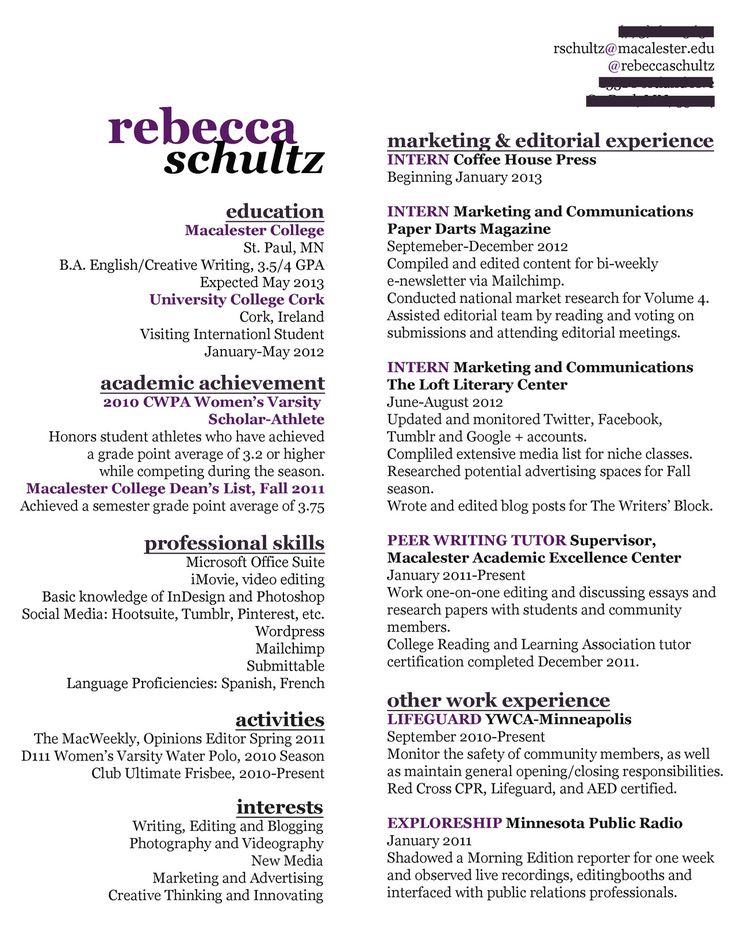 487 best Resumes images on Pinterest Resume ideas, Resume tips - resume for recent college graduate