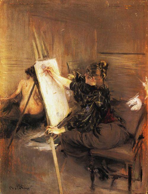 Giovanni Boldini    La pittrice Ruth Sterling nel suo atelier