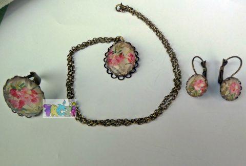 antik színű foglalattal virágos ékszer szett, gyűrű,fülbevaló,nyaklánc, Ékszer, óra, Ékszerszett, Nyaklánc, Gyűrű, Meska