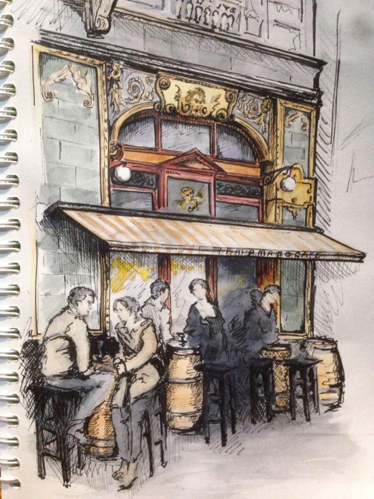 sketches архитектура. Кафе. Будапешт.