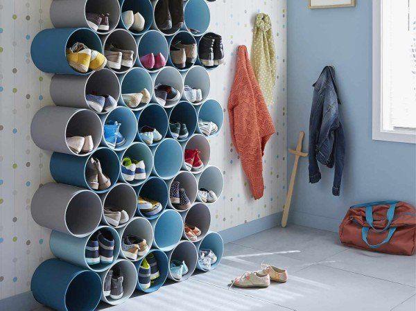 Comment réaliser un porte-chaussures en tubes PVC ? | Leroy Merlin Pour les sous vêtements et echarpes dans notre dressing rangement @fredericlouka1